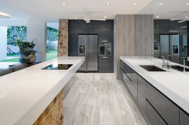 6x36 amelia mist floor tile modern kitchen new york by roma