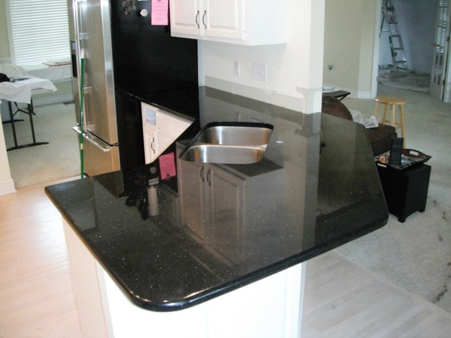 7-2-12 BLACK GALAXY Granite Colors for white Cabinets traditional-kitchen