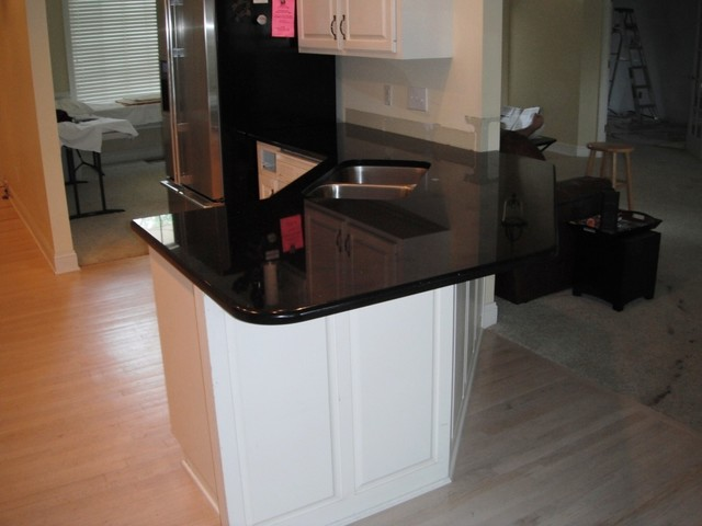 7 2 12 Black Galaxy Granite Colors For White Cabinets Traditional Kitchen Charlotte By