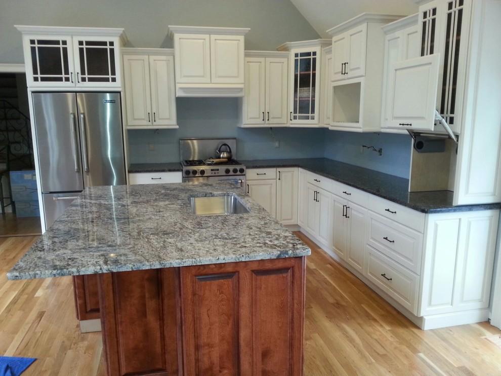 #7115 White Kitchen with Stained Island, Glastonbury CT ...