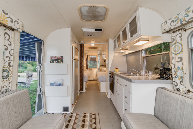 39 72 avion camper renovation midcentury kitchen for Design caravan renovation ideas home