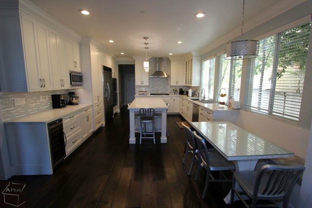 78 - San Clemente Kitchen Remodel with Custom Cabinets & Wood Floor - Beach Style - Kitchen ...