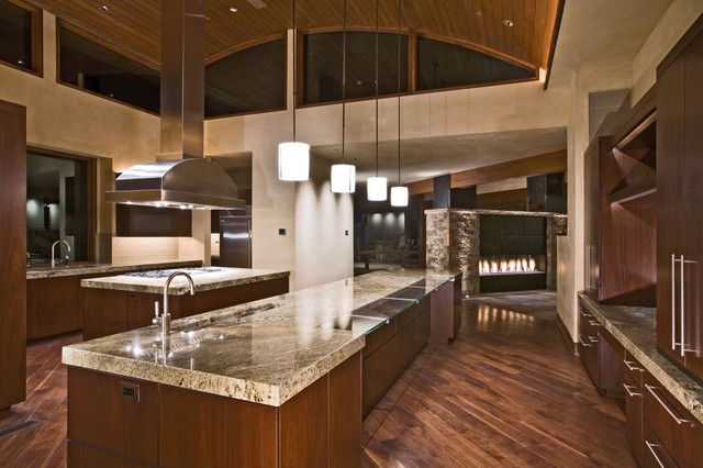 8 Custom See Through Fireplace Contemporary Kitchen