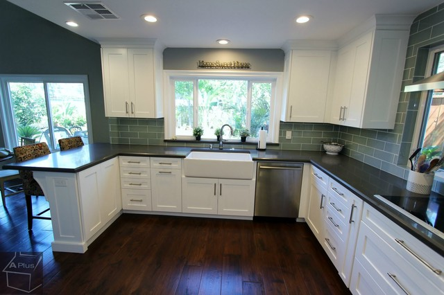 ... Transitional Style White Kitchen Cabinets Remodel transitional-kitchen