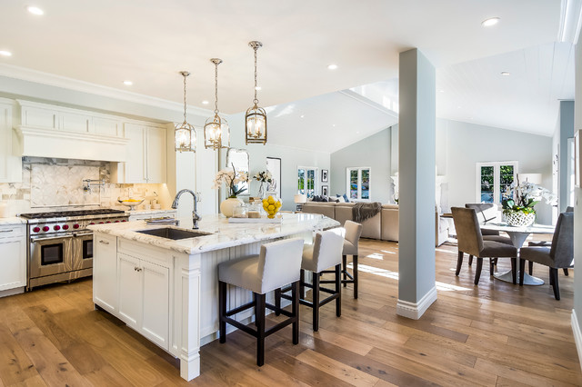 Beautiful Open Plan Kichen With Marina Oak Wood Floors Designed By