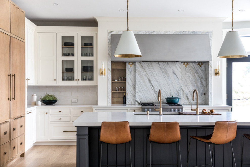 Transitional kitchen photo in Portland Maine