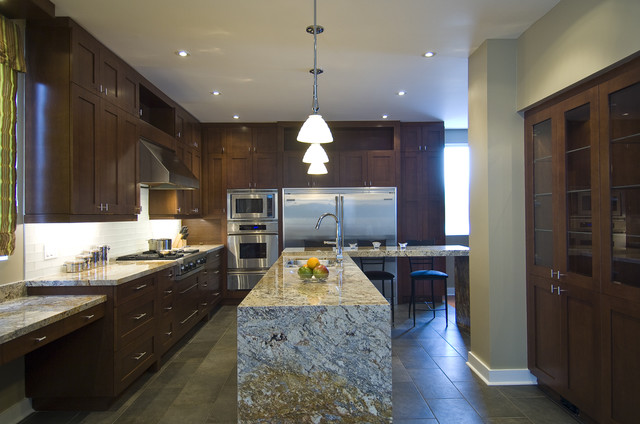 Kitchen - contemporary kitchen idea in Toronto with shaker cabinets,  stainless steel appliances, an