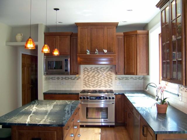 A Glitzy Take on a Traditional Backsplash transitional-kitchen