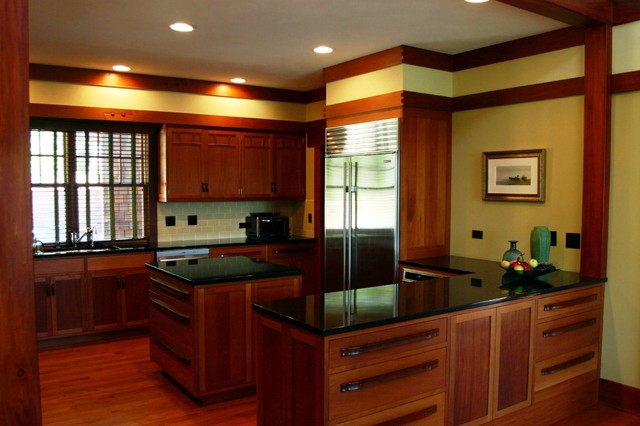 A Greene & Greene style kitchen in a new house in Virginia - Traditional - Kitchen - Chicago ...
