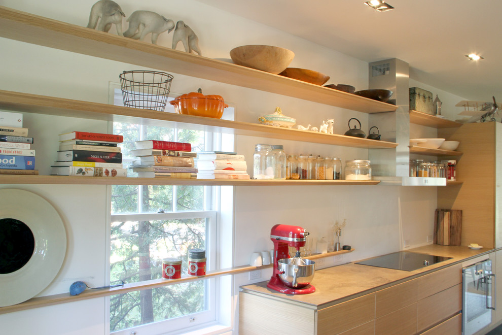 Minimalist kitchen photo in Toronto with open cabinets, light wood cabinets and stainless steel appliances