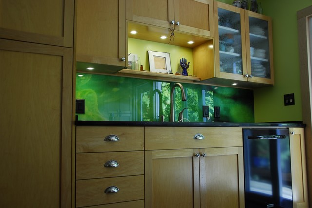 Jade Swirls Glass Kitchen Backsplash  Contemporary  Kitchen