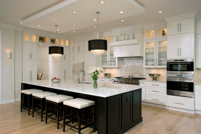Modern White And Black Kitchen In Contemporary