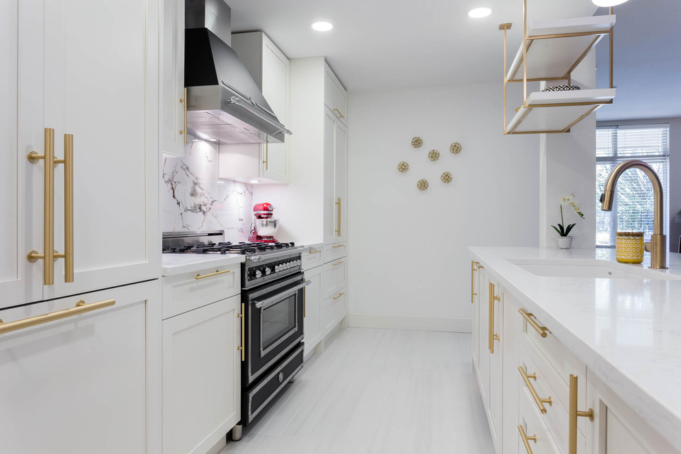 A Kitchen With White Shaker Cabinets And Gold Brass Hardware Contemporary Kitchen Vancouver By Dimora Interiors Houzz