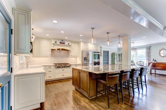 A large island was designed to showcase the full slab of Azurite granite. - Farmhouse - Kitchen ...