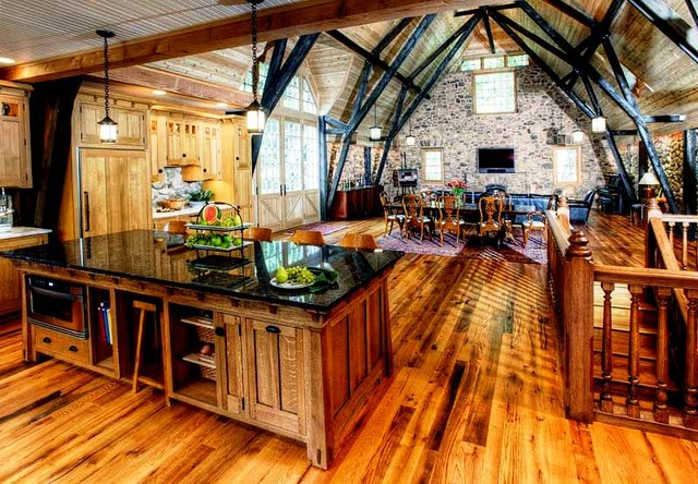 A Large Kitchen In A Converted Stone Barn