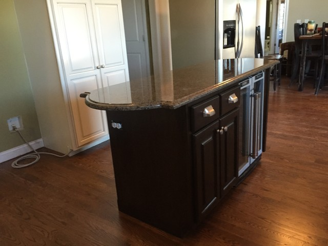A maple kitchen refinished white dove, island in expresso