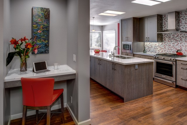 Inspiration for a mid-sized contemporary l-shaped medium tone wood floor eat-in kitchen remodel in San Francisco with an undermount sink, flat-panel cabinets, gray cabinets, quartz countertops, red backsplash, porcelain backsplash, stainless steel appliances and an island