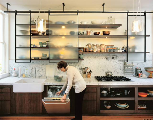 Example Of A Trendy Kitchen Design In San Francisco With Open Cabinets