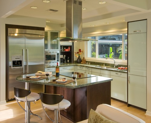 Inspiration for a contemporary kitchen remodel in Boston with glass-front  cabinets, black appliances