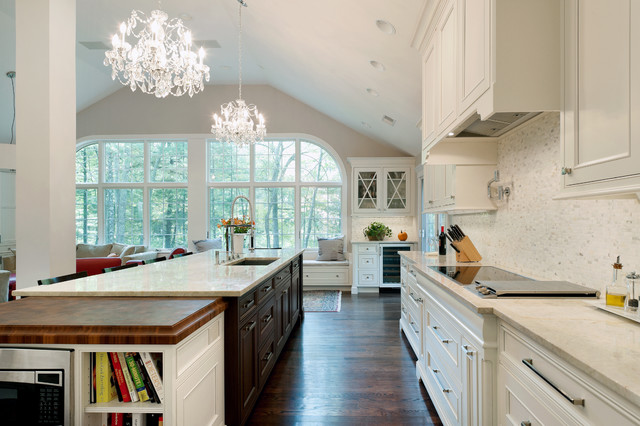 Inspiration For A Timeless Dark Wood Floor Open Concept Kitchen Remodel In  Boston With An Undermount