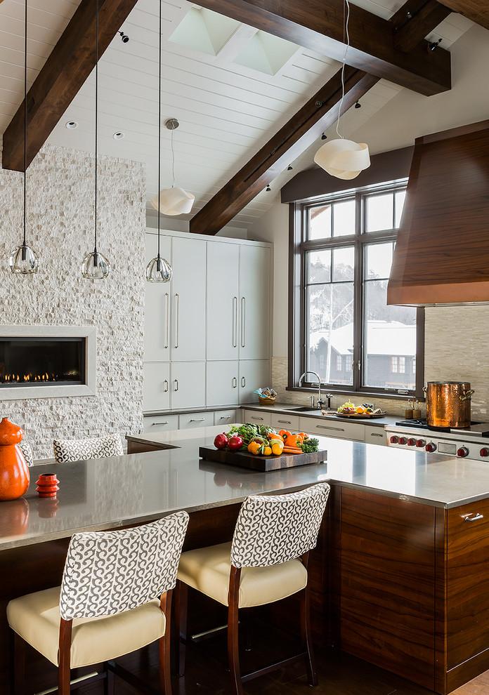 Kitchen - modern kitchen idea in Burlington with stainless steel appliances