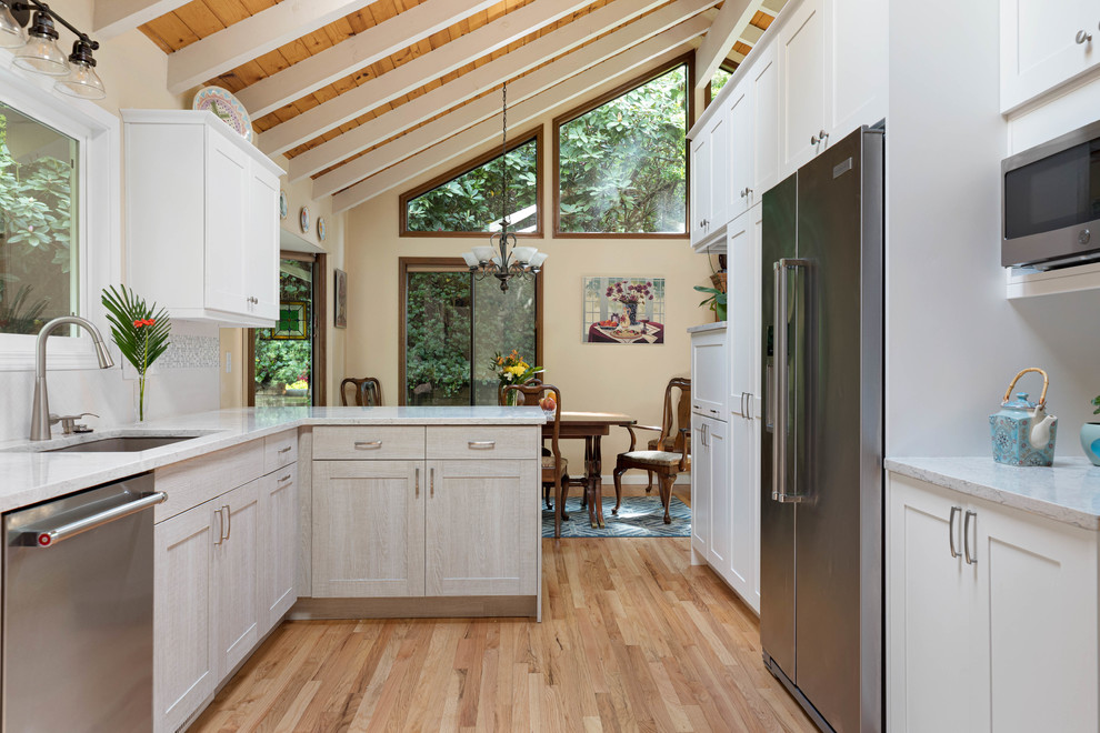 a sunkissed transformation  transitional  kitchen