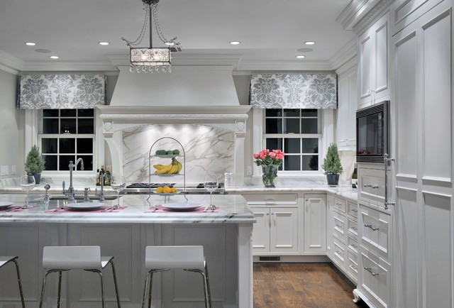 White And Grey Traditional Kitchen a touch of grey - traditional - kitchen - new york -showcase