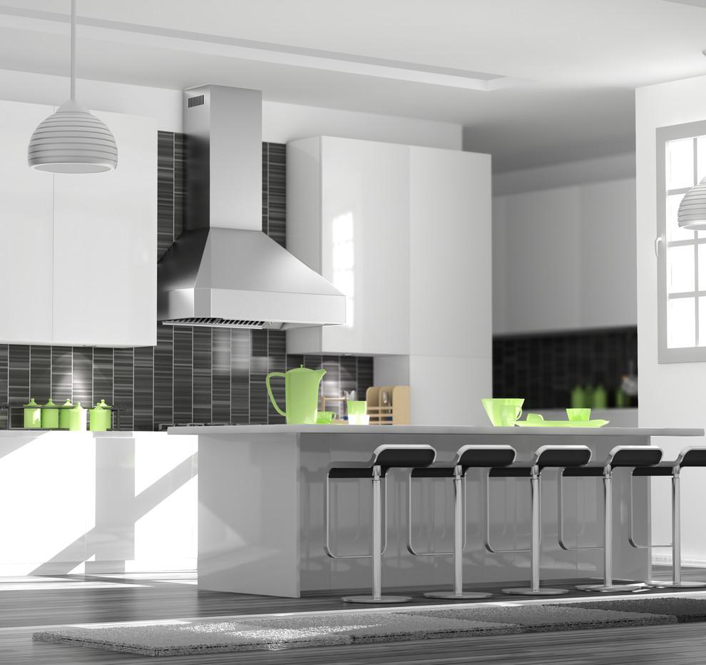 A White Kitchen Featuring A Zline 455 Stainless Steel Wall Range Hood Modern Kitchen Other By Zline Kitchen And Bath