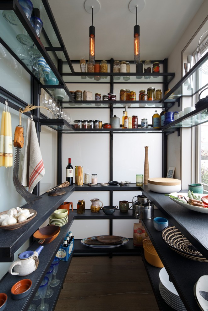 Example of a trendy u-shaped kitchen pantry design in San Francisco with open cabinets