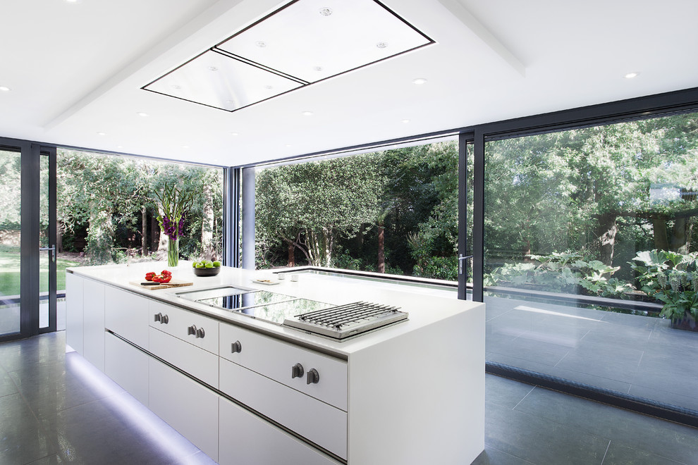 Kitchen - modern kitchen idea in Hampshire with flat-panel cabinets and white cabinets