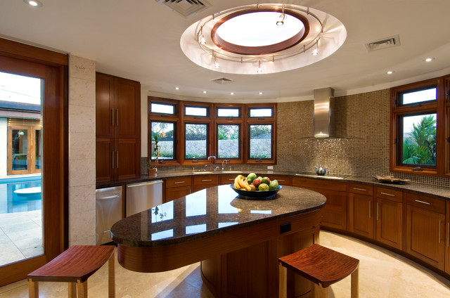 Example Of A Mid Sized Trendy U Shaped Travertine Floor Enclosed Kitchen  Design In