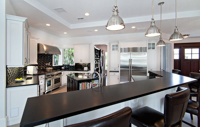 Absolute Black Granite Contemporary Kitchen Miami