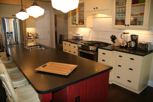 Absolute Black Honed Granite Contemporary Kitchen