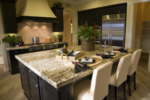 Absolute Cream Granite Countertop And Travertine Back Splashes  Contemporary Kitchen