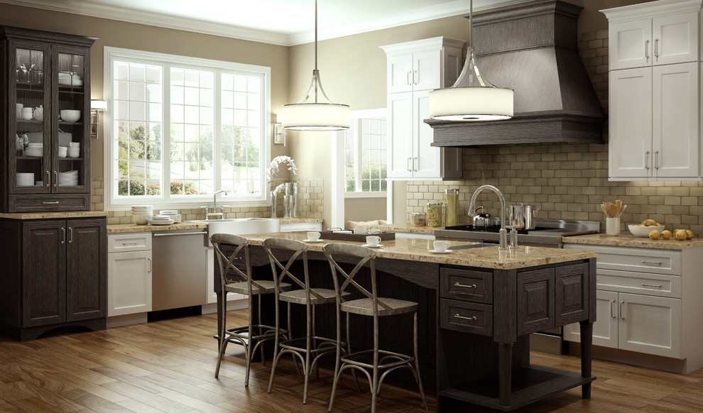 Example of a classic l-shaped eat-in kitchen design in Wilmington with an undermount sink, distressed cabinets, beige backsplash and stainless steel appliances