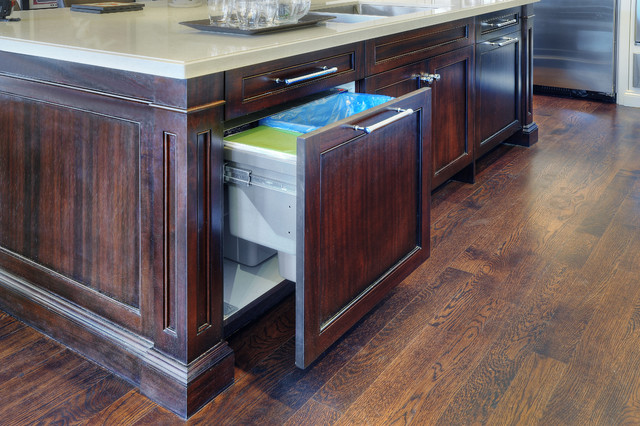 kitchen island double pull out waste bin transitional kitchen. Black Bedroom Furniture Sets. Home Design Ideas