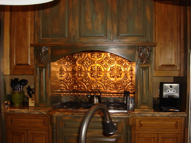 accented stove backsplash rustic kitchen - Kitchen Metal Backsplash