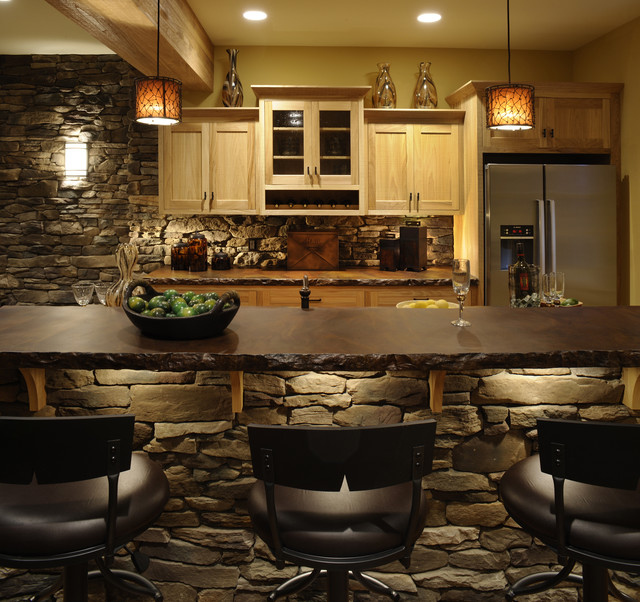 ackerly park new albany ohio rustic kitchen - Lighting Bars For Kitchens
