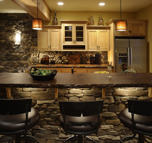 What style of rock is used for the bar and backsplash? Who is the ...