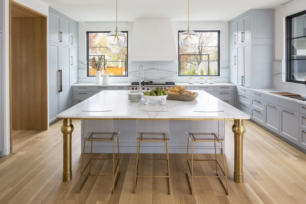 Acrylic And Brass At Island With Brass Legs Transitional Kitchen Dc Metro By Boss Design Center