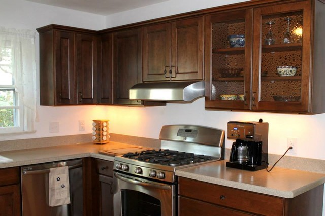 Photos in kitchen remodel with adams cherry cabinets wilsonart sandy