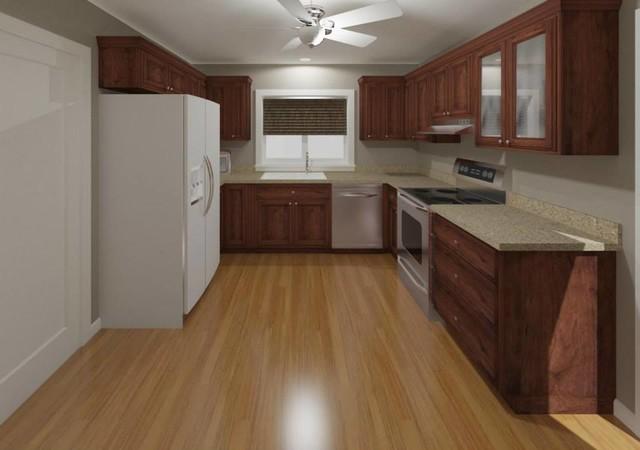 Adams Cherry Cabinets, Wilsonart Sandy Topaz Laminate Tops, Laminate Honey Oak F