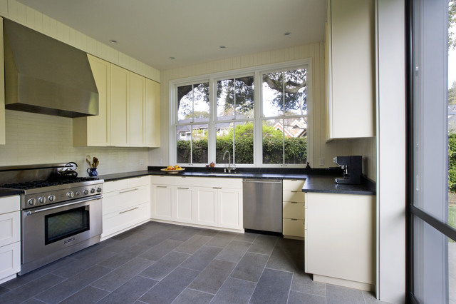 Addition remodel of historic house in palo alto for Slate kitchen floors with white cabinets