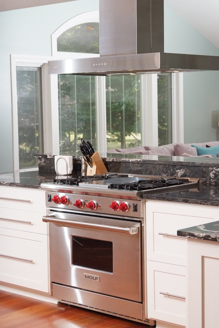 Addition with kitchen and a Wolf Range in Solon Ohio contemporary-kitchen