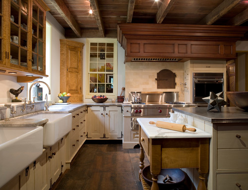 Mixing stained wood kitchen cabinetry with painted cabinets Kitchen design baking center