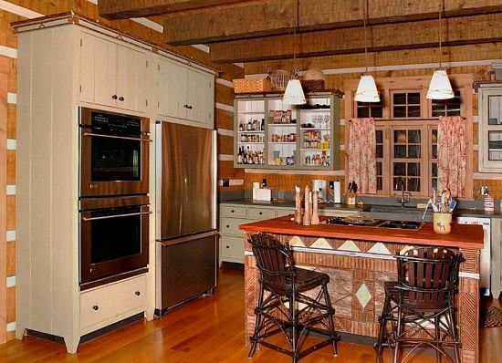Adirondack style log house rustic kitchen cleveland for Adirondack bathroom ideas