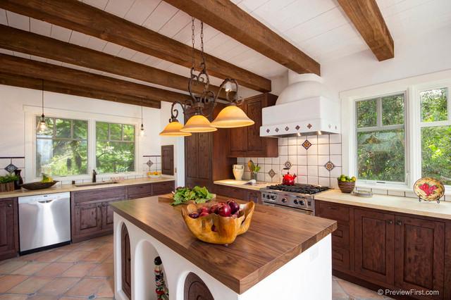 Adobe style beach house mediterranean kitchen san for Mediterranean style beach house