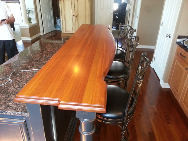 African Mahogany Island Top Traditional Kitchen