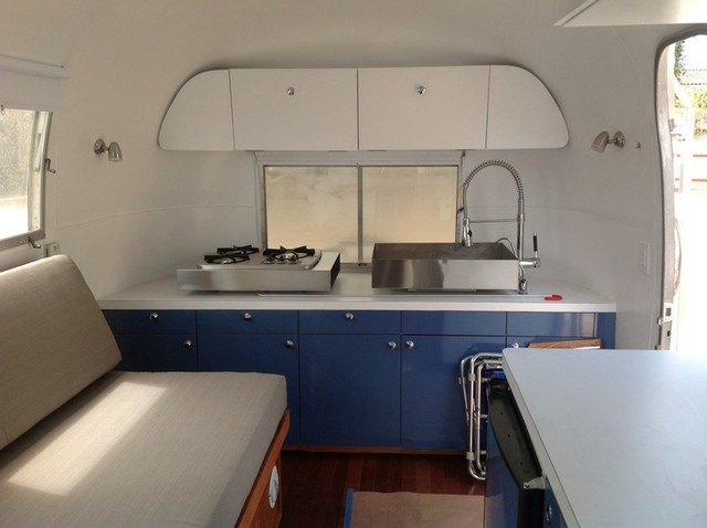 Airstream Trailer Remodel Contemporary Kitchen
