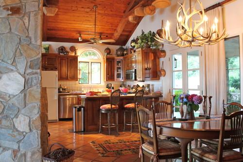 antler chandelier in traditional design kitchen